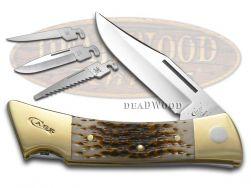 Case xx xxChanger Lockback Knife Jigged Amber Bone Stainless Pocket Knives 00050