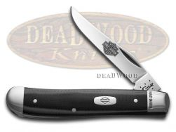 Case xx Harley Davidson Mini Trapper Knife Black & Silver G-10 Stainless 52123