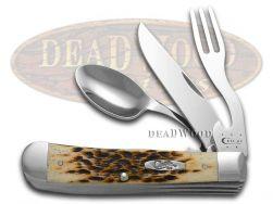 Case xx Hobo Knife Jigged Amber Bone Handle Stainless Pocket Knives 00052