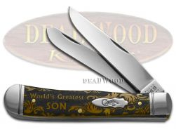 Case xx Trapper Knife World's Greatest Son Antique Bone Stainless Pocket Knives