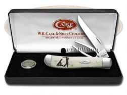 Case xx Golfer's Gift Set Mini Trapper Knife Natural Bone Stainless Pocket 06022