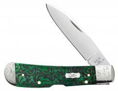 Case xx Tribal Lock Knife Heartleaf Bermuda Green Bone Stainless 60324 Scrolled