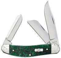 Case xx Sowbelly Knife Heartleaf Bermuda Green Bone Stainless 60327 Scrolled