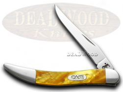 Case xx Toothpick Knife Antique Gold Corelon Stainless Pocket Knives 6077 AG