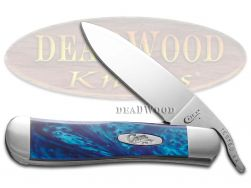 Case xx Russlock Knife Blue Silk Corelon Handle Stainless Pocket Knives