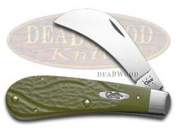Case xx Hawk Bill Pruner Knife Rough Olive Green Delrin Stainless Pocket 63726