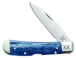 Case xx Tribal Lock Knife Navy Blue Genuine Giraffe Bone Stainless Pocket 64109
