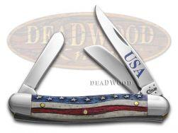 Case xx Stockman Knife Star Spangled Natural Bone US Flag Stainless Pocket 64136