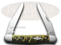 Case xx Muskrat Knife Walking Elk Antique Bone 1/500 Stainless Pocket Knives