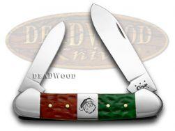 Case xx Canoe Knife Christmas Red & Bright Green Bone Stainless Pocket 65101