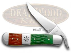 Case xx Russlock Knife Christmas Red & Bright Green Bone Stainless Pocket 65102