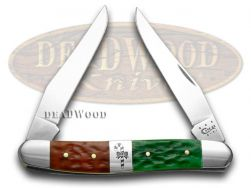 Case xx Muskrat Knife Christmas Red & Bright Green Bone Stainless Pocket 65106