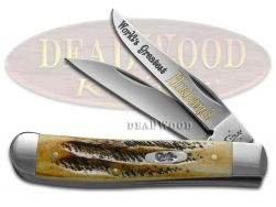 Case xx World's Greatest Husband Mini Trapper Knife Bone Stag 1/500 Stainless