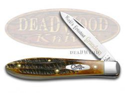 Case xx Worlds Greatest Grandson Tear Drop Gent Knife Bone Stag 1/600 Stainless