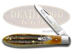Case xx World's Greatest Son Tear Drop Gent Knife 6.5 Bone Stag 1/600 Stainless