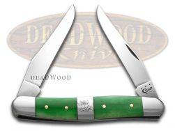 Case xx Muskrat Knife Christmas Bells Bright Green Bone Stainless Pocket 65582
