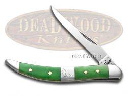 Case xx Toothpick Knife Christmas Bright Green Bone Mistletoe 65583