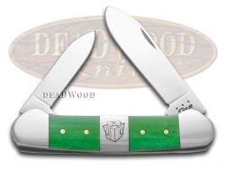 Case xx Canoe Knife Christmas Bright Green Bone Present Center Bolster 65586