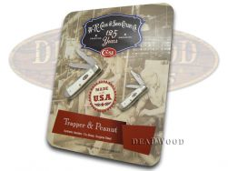 Case xx Trapper & Peanut Knife Set White Delrin Stainless Pocket Knives 66250