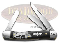 Case xx Medium Stockman Knife White Horses Black Delrin 1/500 Stainless