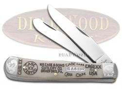 Case xx Trapper Knife Natural Bone 1/500 Tang Stamps Stainless Pocket Knives