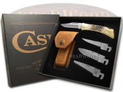 Case xx xx-Changer Lockback Knife Gift Set Jigged Amber Bone Stainless 70050
