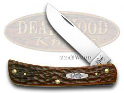 Case xx Sod Buster Jr. Knife Jigged Chestnut Bone Handle CV Pocket Knives 07014