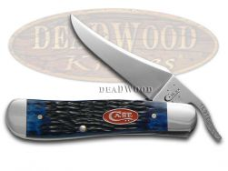 Case xx Russlock Knife Jigged Navy Blue Bone Stainless Pocket Knives 07057