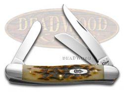 Case xx Med Stockman Knife Jigged Amber Bone 1/500 Stainless Pocket Knives 71129