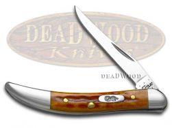 Case xx Toothpick Knife Pocket Worn Harvest Orange Bone Stainless Pocket 07400