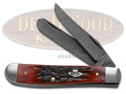 Case xx Damascus Mini Trapper Knife Jigged Crimson Red Bone Pocket Knives 74171