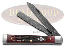Case xx Damascus Doctor Knife Jigged Crimson Red Bone Pocket Knives 74176