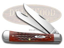 Case xx Trapper Knife Pocket Worn Jigged Old Red Bone Handle Stainless 00783