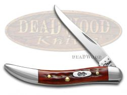 Case xx Toothpick Knife Pocket Worn Jigged Old Red Bone Handle Stainless 00792