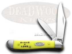 Case xx Father's Day Peanut Knife Yellow Delrin 1/1000 Stainless Pocket Knives