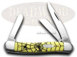 Case xx Medium Stockman Knife Spider Web Yellow Delrin 1/1000 Stainless Pocket