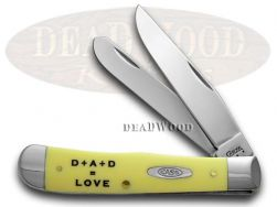 Case xx Father's Day Trapper Knife Yellow Delrin 1/500 Stainless Pocket Knives
