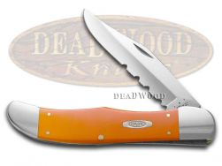 Case xx Folding Hunter Knife Smooth Orange Delrin Stainless Pocket Knives 80501