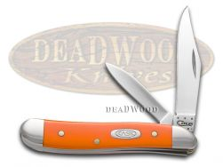 Case xx Peanut Knife Smooth Orange Delrin Handle Stainless Pocket Knives 80504