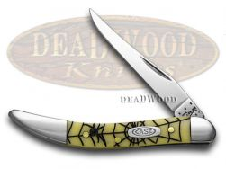 Case xx Toothpick Knife Spider Web Yellow Delrin Handle 1/500 CV Pocket Knives
