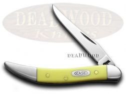 Case xx Toothpick Knife Smooth Yellow Delrin Handle CV Pocket Knives 00091