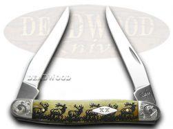 Case xx Muskrat Knife Scrolled Walking Elk Antique Bone 1/200 Stainless Pocket