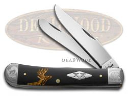 Case xx Trapper Knife Scrolled Golden Deer Scene Black Delrin 1/500 Stainless