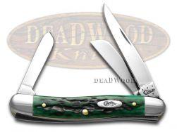 Case xx Med Stockman Knife Pocket Worn Jigged Bermuda Green Bone Stainless 09721