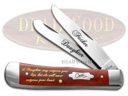 Case xx Father Daughter Trapper Knife Dark Red Bone Stainless Pocket Knives