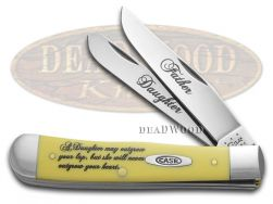 Case xx Father Daughter Trapper Knife Yellow Delrin Stainless Pocket CAT-FD/Y