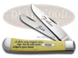 Case xx Father Son Trapper Knife Yellow Delrin Stainless Pocket Knives CAT-FS/Y