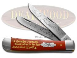 Case xx Grandfather Granddaughter Trapper Knife Red Bone Stainless Pocket Knives