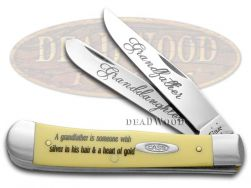 Case xx Grandfather Granddaughter Trapper Knife Yellow Delrin Stainless Pocket