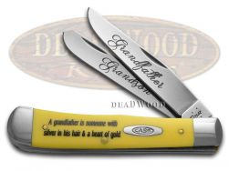 Case xx Grandfather Grandson Trapper Knife Yellow Delrin Stainless CAT-GFGS/Y